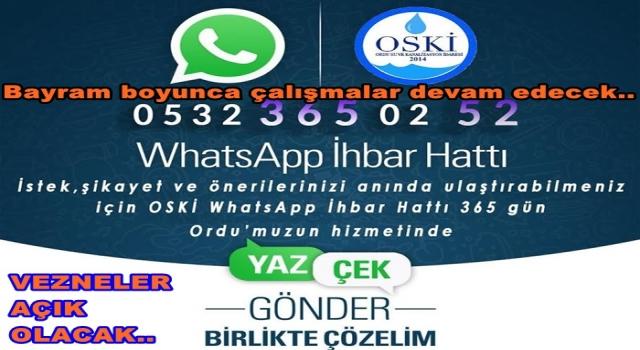OSKİ WHATSAPP İHBAR HATTI KURDU..