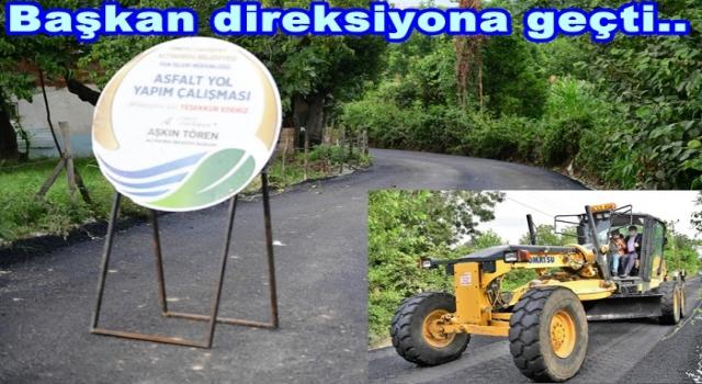 Altınordu Karşıyaka Mahallesine sıcak asfalt döşedi..