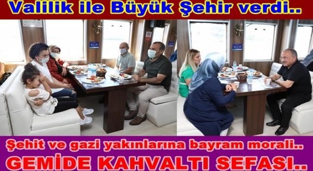 Vali ile Başkan Şehit ailelerine kahvaltı verdi..