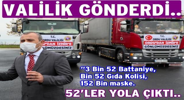 Ordu'dan İzmir'e iki tır yardım gönderildi..