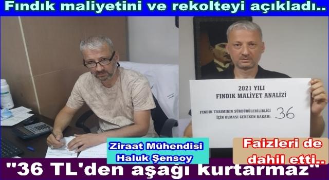 FINDIK TABAN FİYATINA EN AZ 36.00 TL. İSTEDİ..
