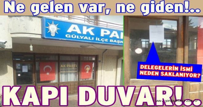 AKP İlçe başkanlığı seçim nedeniyle kapısına kilit vurdu..