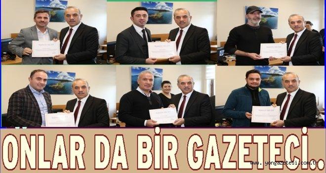 Belediye Basın çalışanlarına teşekkür belgesi..