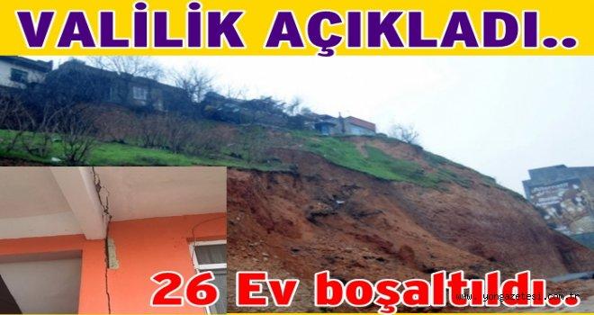 Heyelan  bölgesinde bulunan evler boşaltıldı..