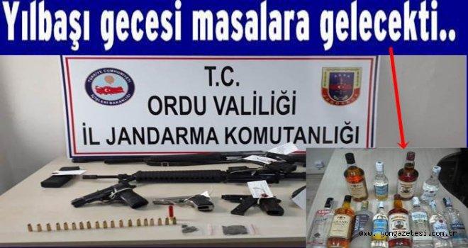 Jandarma kaçak içki ve silahlar yakaladı..