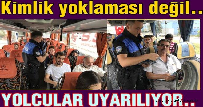 Polisten otobüs içinde güvenlik eğitimi..