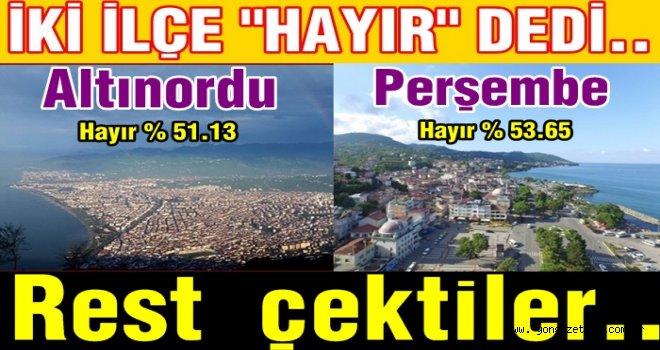 Referanduma göre Altınordu ve Perşembe'de sıkıntılar var..