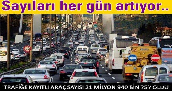 Trafikte araç sayıları gittikçe artıyor..