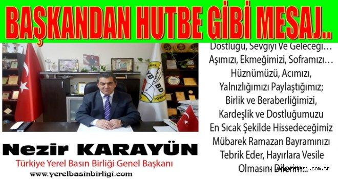 Türkiye Yerel Basın Birliği Bayram Mesajı yayınladı..