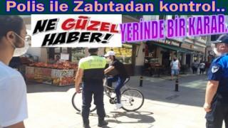 Yaya yollarına giren motosikletlere ve Bisiklete ceza..