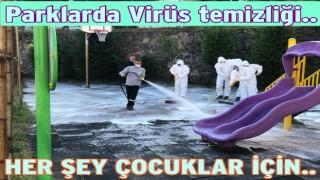 Çocuk parkları dezenfelte edilerek yıkanıyor..