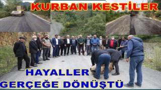 YOLARI ASFALTA KAVUŞAN HALK KURBAN KESTİ..