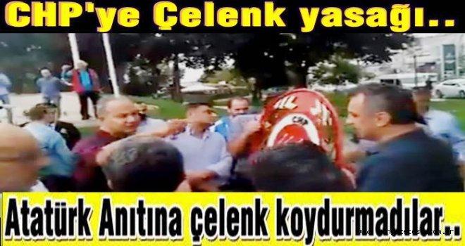 CHP'nin çelengi tören alanına sokulmadı..